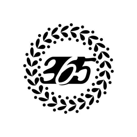 leaf rotation 365 infinity logo icon design illustration black