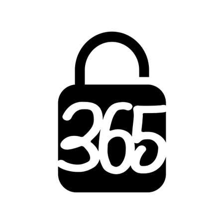 lock secure 365 infinity logo icon design illustration black