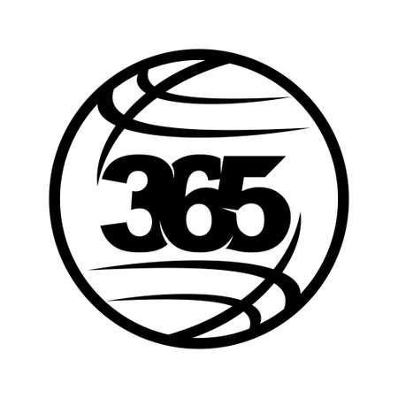 world global 365 infinity logo icon design illustration black