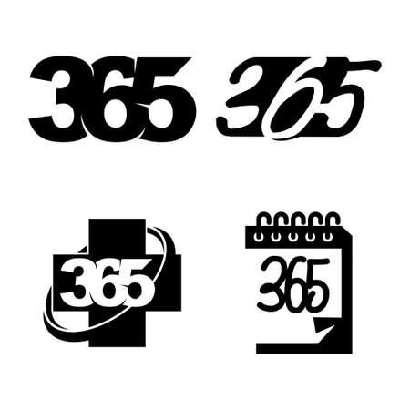 health calendar 365 infinity logo icon design illustration black