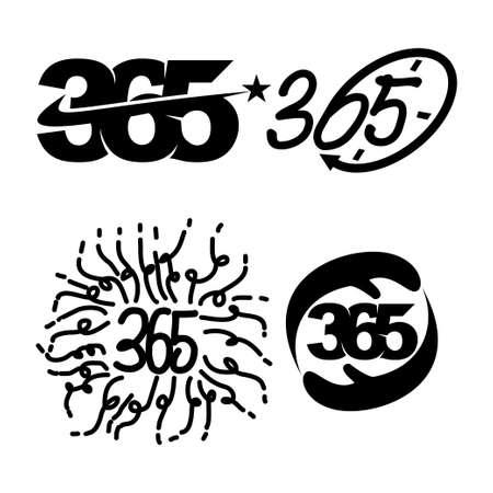 star time hand anniversary 365 infinity logo icon black