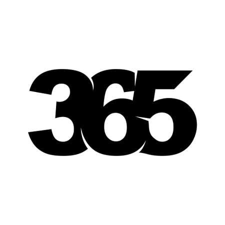 Emblem 365 infinity logo icon design illustration vector black