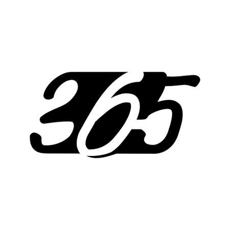 Modern 365 infinity logo icon design illustration black