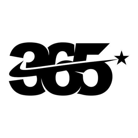 star swash 365 infinity logo icon design illustration black Çizim