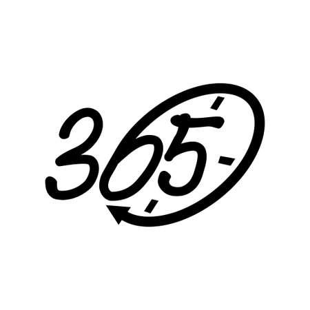 time emblem 365 infinity logo icon design illustration black
