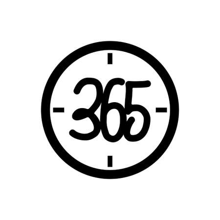 time watch 365 infinity logo icon design illustration black