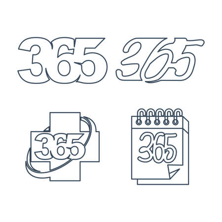 health calendar 365 infinity logo icon outline illustration