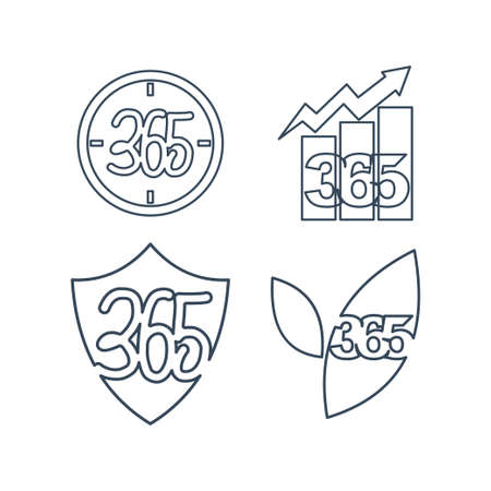 time business shield leaf 365 infinity logo icon outline