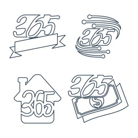 cinta, hogar, dinero, tecnología, 365, infinito, logotipo, icono, contorno