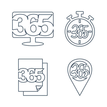 monitor time paper pin 365 infinity logo icon design outline