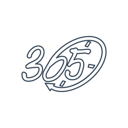 time emblem 365 infinity logo icon design illustration outline