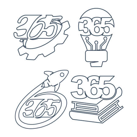 gear bulb rocket book 365 infinity logo icon outline illustration Ilustracja