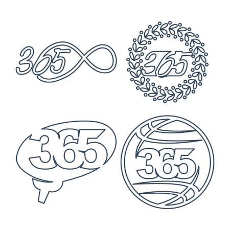 leaf brain world 365 infinity logo icon outline  illustration