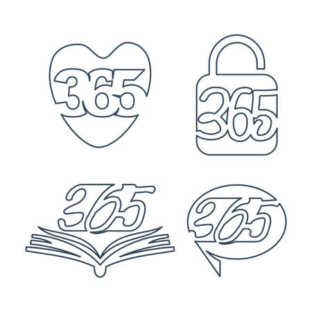 love lock book contact 365 infinity logo icon outline illustration
