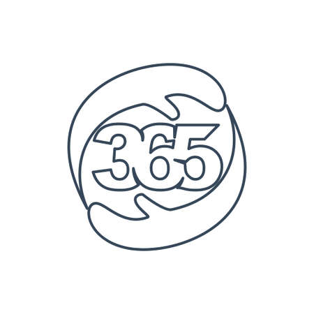 hand care 365 infinity logo icon design illustration outline