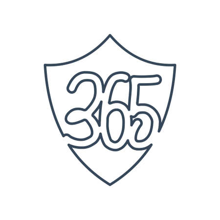 shield protection 365 infinity logo icon design illustration outline