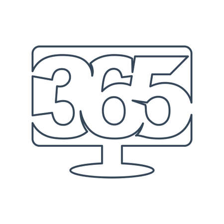 Monitor 365 infinity logo icon design illustration outline
