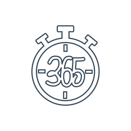 stopwatch 365 infinity logo icon design illustration outline