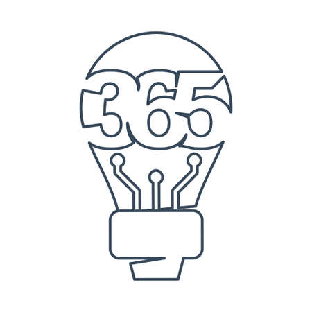 bulb idea 365 infinity logo icon design illustration outline