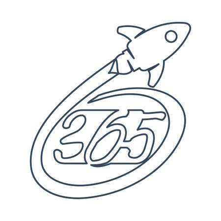 Rocket speed 365 infinity logo icon design illustration outline Ilustracja