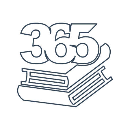 book stack 365 infinity logo icon design illustration outline