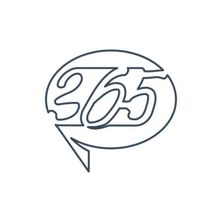 Balloon communication 365 infinity logo icon outline illustration