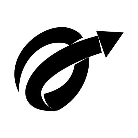 Spiral Way Arrow Direction Vector Black Color Isolated