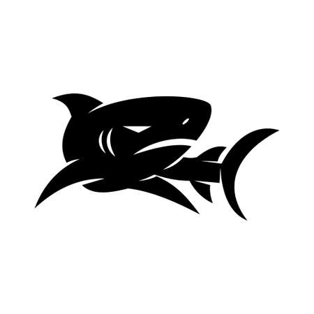 Shark logo design Character vector isolated concept template