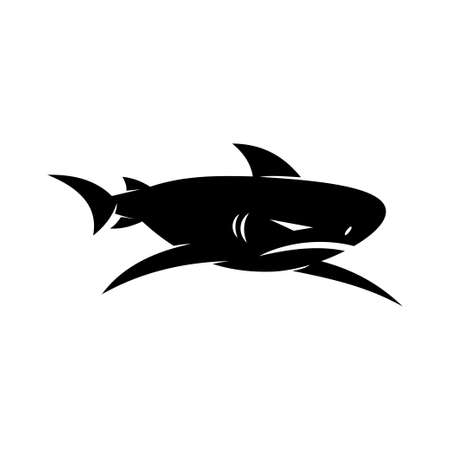 Shark Angry logo design vector isolated template