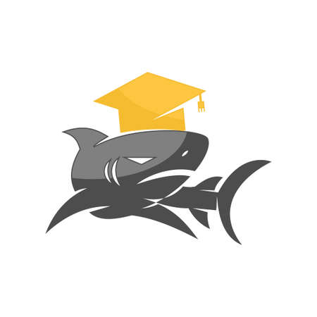 Shark Education logo design vector isolated  concept template