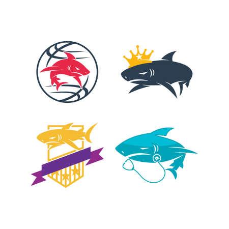 Shark World King Stethoscope Shield logo design set template