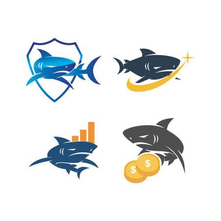 Shark Money Business Shield logo design vector set template