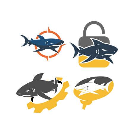 Shark lock gear brain logo design vector set illustration Çizim