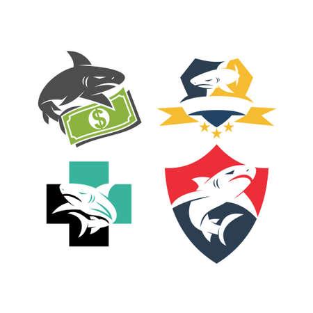 Shark Money Shield Health logo design vector set template