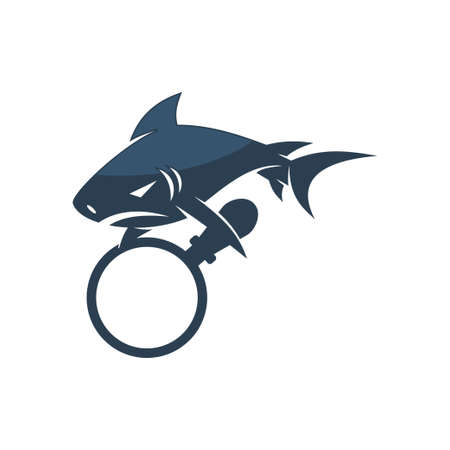 Shark Magnify logo design vector isolated illustration template Vectores