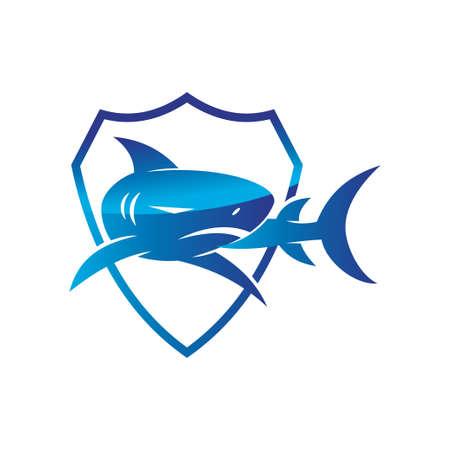 Shark Shield logo design vector isolated illustration concept
