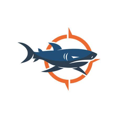 Shark Compass logo design vector isolated illustration template