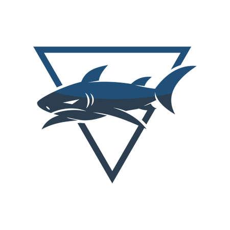 Shark Triangle logo design vector isolated concept template