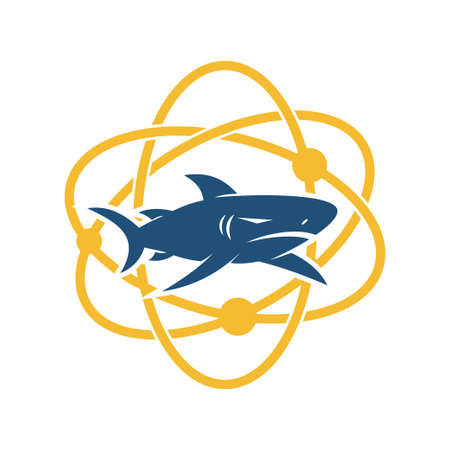 Shark Technology logo design vector isolated illustration