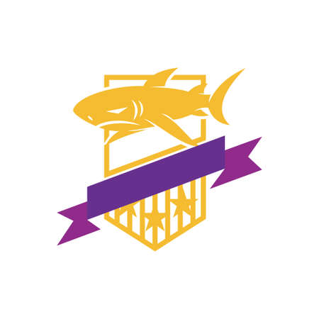 Shark Shied Ribbon logo design vector isolated template