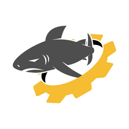 Shark Gear logo design vector isolated illustration template Vectores
