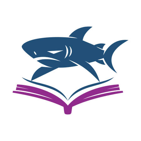 Shark Book logo design vector isolated  illustration template
