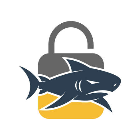 Shark Lock logo design vector isolated illustration template Vectores
