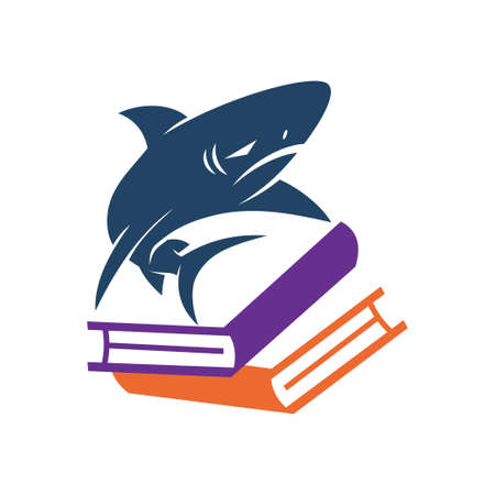 Shark Book Stack logo design vector isolated concept template