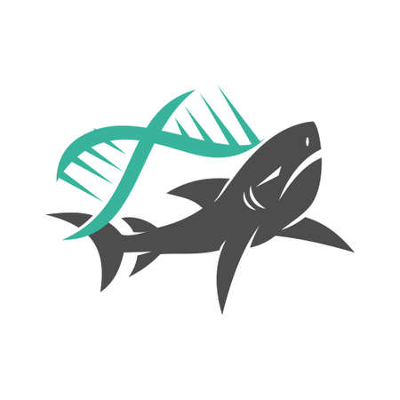 Shark Genetic logo design vector isolated Concept template