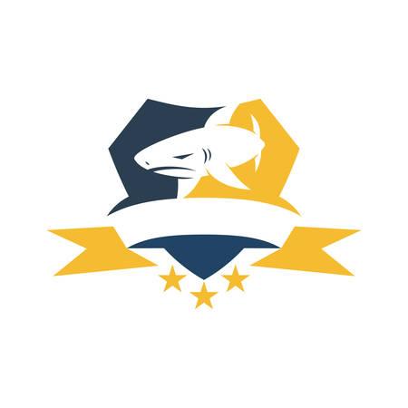 Shark Shield Ribbon Star logo design vector isolated template