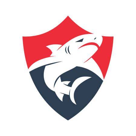 Shark Secure logo design vector isolated illustration template