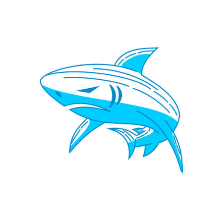 Shark Power logo design vector Outline isolated concept template