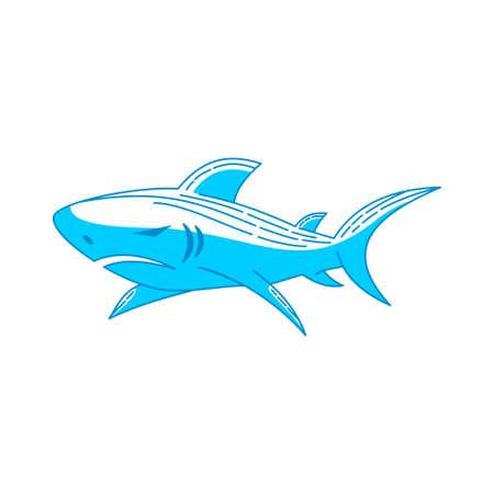 Shark Strength logo design vector Zarys ilustracja na białym tle Logo
