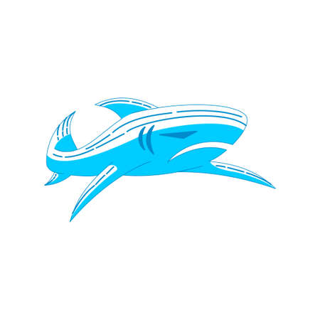 Shark drawing logo design vector Outline concept template